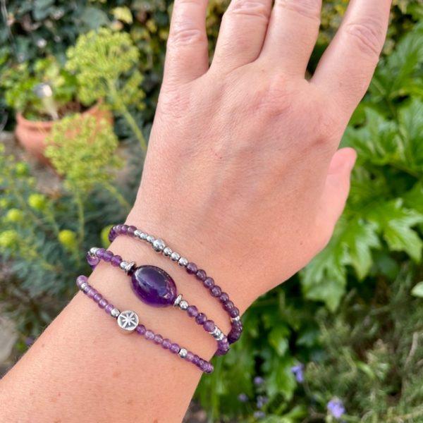 bracelet pour femme en amethyste belle de lune