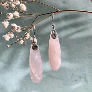 boucle d'oreille pour femme en quartz rose Belle de lune