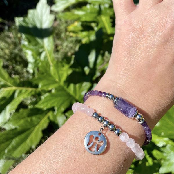 bracelet en quartz rose pour femme Belle de lune