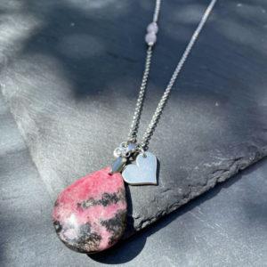 collier femme rhodonite belle de lune